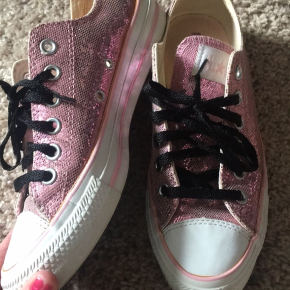5a35dc256de819 Converse Shoes - Pink sparkly converse chuck Taylors